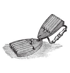 Fluting iron is a device for making flutes in a vector