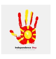 Handprint with the flag of macedonia in grunge vector