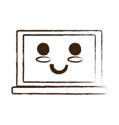 Kawaii laptop computer icon vector