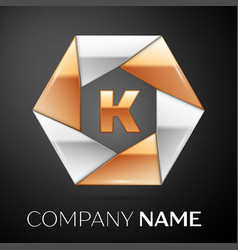 Letter k logo symbol in the colorful hexagon on vector