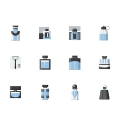 Male fragrance vials flat color icons vector