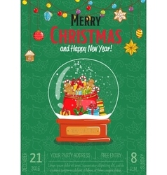 Merry Christmas Poster for Holiday Party Promo vector image vector image