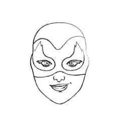 Monochrome blurred contour of female superhero vector