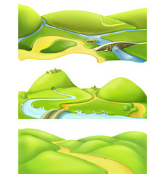 Nature landscape cartoon game backgrounds set vector
