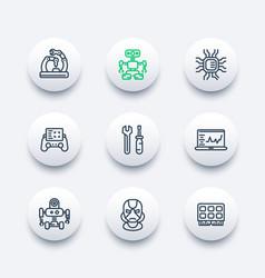 Robotics mechanical engineering robots icons vector