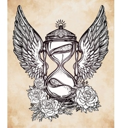 Romantic design of a winged hourglass with roses vector image vector image