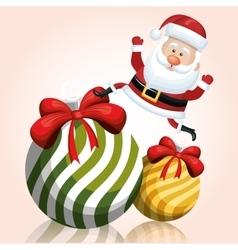 santa on big ball christmas happy graphic vector image