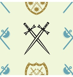 Seamless background with knight heraldic symbol vector