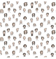 seamless pattern of male and female doodle hand vector image vector image