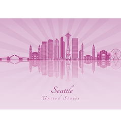 Seattle v2 skyline in purple radiant orchid vector