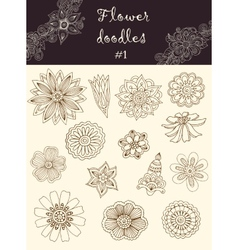 set 1 doodle flowers Series of doodles vector image