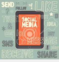 Social media sign and symbol hand drawn vector
