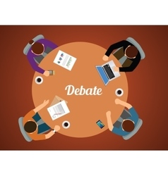 Team debate together view from top graphic vector