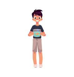 teen teenage boy kid holding aquarium with vector image