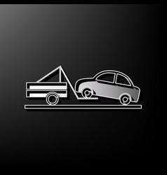 Tow truck sign gray 3d printed icon on vector