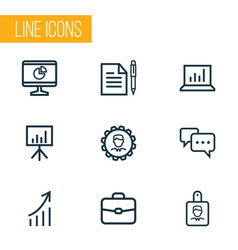 Trade outline icons set collection of agreement vector