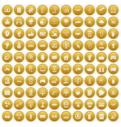 100 hi-tech icons set gold vector image