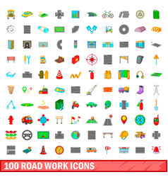 100 roadwork icons set cartoon style vector