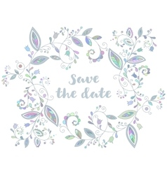 Blue greeting or save the date card vector