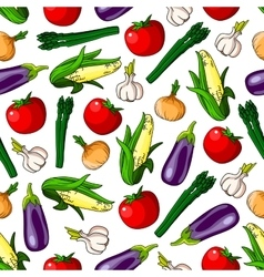 Ripe vegetables seamless pattern background vector