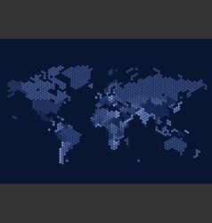 Dotted world map of hexagonal dots vector
