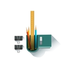 Pens and pencils organizer office worker desk vector