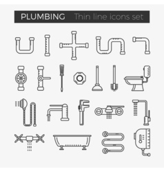 Sanitary plumbing engineering thin line icons vector