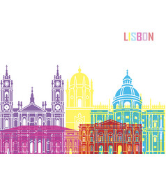 lisbon v2 skyline pop vector image