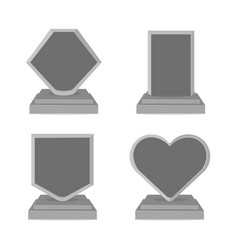 Set trophy cup black and white style flat vector