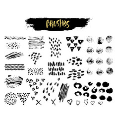 Set of brush acrylic strokes blot wave vector