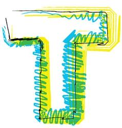 Sketch font Letter T vector image