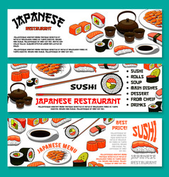 Japanese cuisine or sushi menu banners set vector