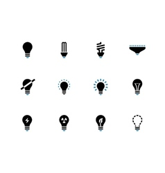 Light bulb and cfl lamp duotone icons vector