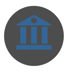 Bank flat cobalt and gray colors round button vector