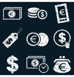 Currency icon set white grunge vector