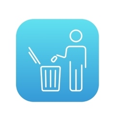 Man throwing garbage in a bin line icon vector