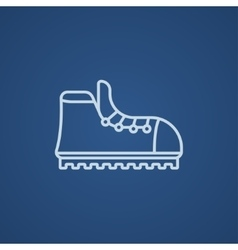 Hiking boot with crampons line icon vector