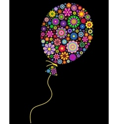 Floral balloon on black background vector