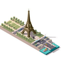 Isometric map of the champ de mars in paris vector