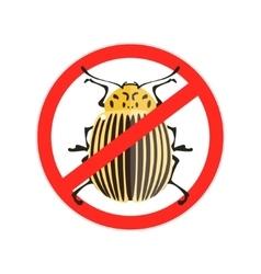 Red prohibition sign colorado bug vector