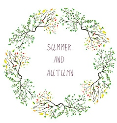 Summer and autumn frame - seasons change vector