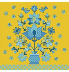 Traditional ukrainian pattern on yellow background vector