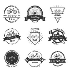 Bicycle monochrome emblems collection vector