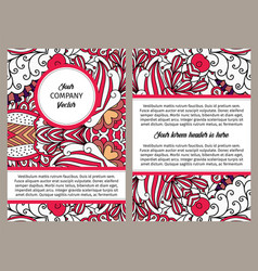 Brouchure design with red outline swirls vector