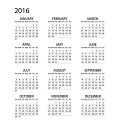 Calendar for 2016 on White Background Week Starts vector image
