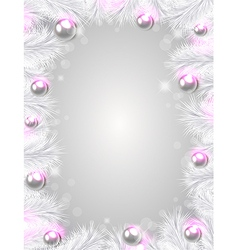 Christmas background with white fir branches vector image vector image