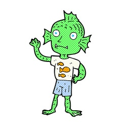 Comic cartoon waving fish boy vector