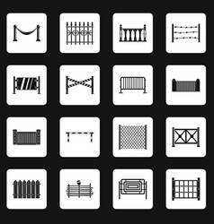 Fencing icons set squares vector