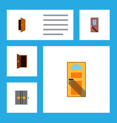 flat icon approach set of exit door entry and vector image vector image