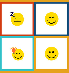 Flat icon expression set of joy have an good vector